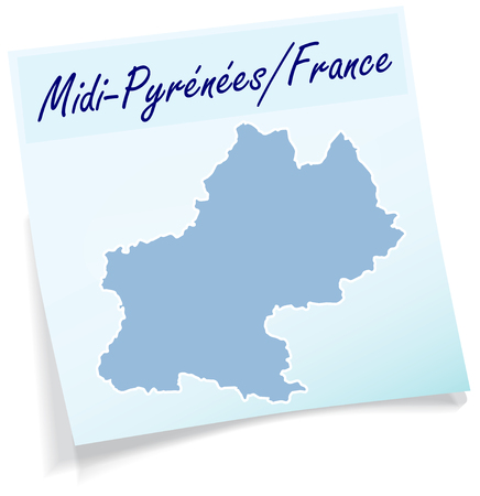 toulouse: Map of Midi-Pyrenees as sticky note in blue Illustration