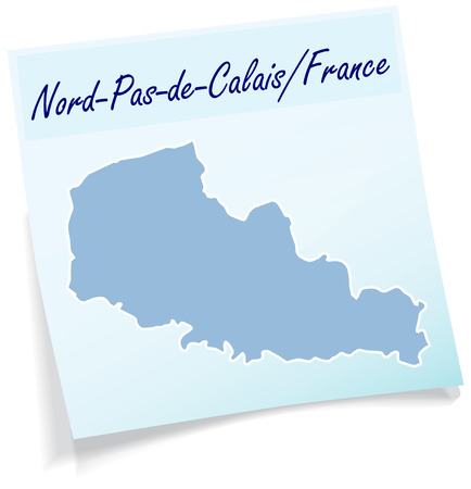 lille: Map of North-pas-de-calais as sticky note in blue