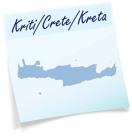 Map of Crete as sticky note in blue