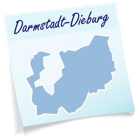 Map of Darmstadt-Dieburg as sticky note in blue