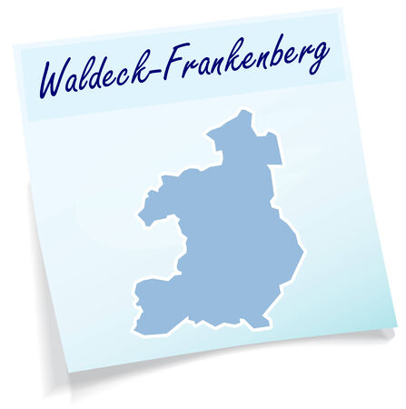 upland: Map of Waldeck-Frankenberg as sticky note in blue