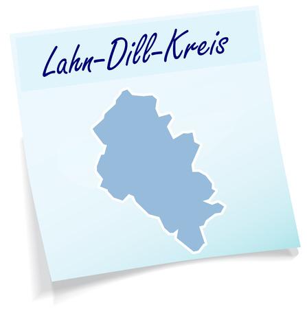 Kaart van Lahn-Dill-Kreis als notitie in het blauw