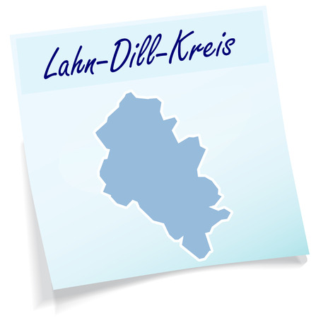 Map of Lahn-Dill-Kreis as sticky note in blue Ilustrace
