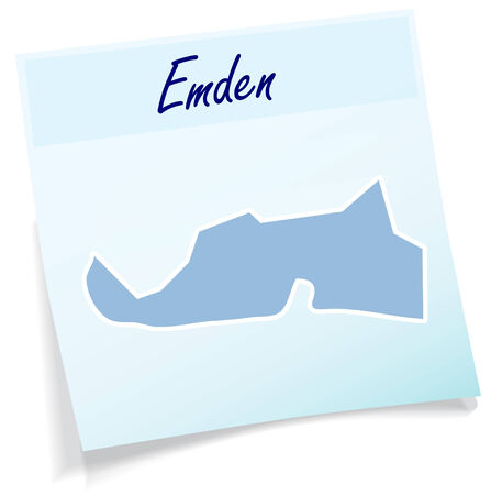 Map of Emden as sticky note in blue Illustration