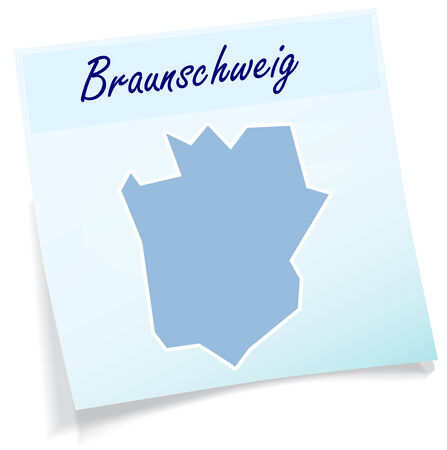 Map of Braunschweig as sticky note in blue