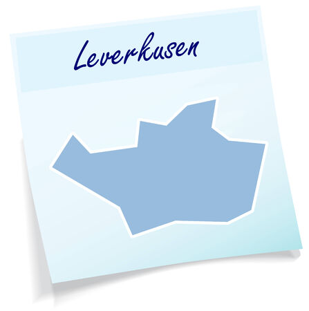 Map of leverkusen as sticky note in blue
