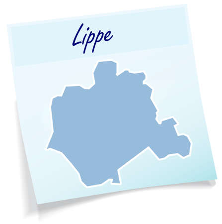 Map of Lippe as sticky note in blue Illustration