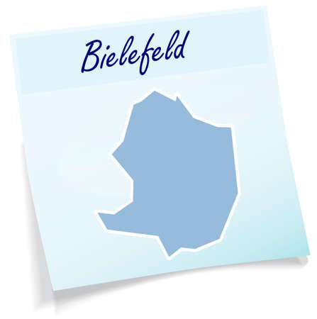 Map of Bielefeld as sticky note in blue
