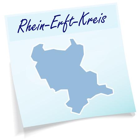 Map of Rhein-Erft-Kreis as sticky note in blue
