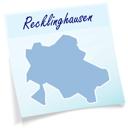 lake district: Map of Recklinghausen as sticky note in blue