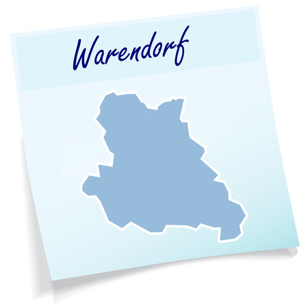 Map of Warendorf as sticky note in blue