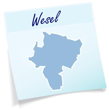 Kaart van Wesel als notitie in het blauw Stock Illustratie