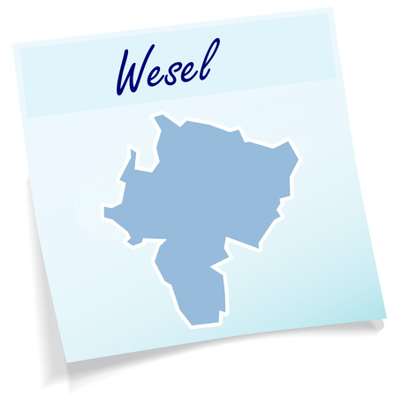 Map of Wesel as sticky note in blue Illustration