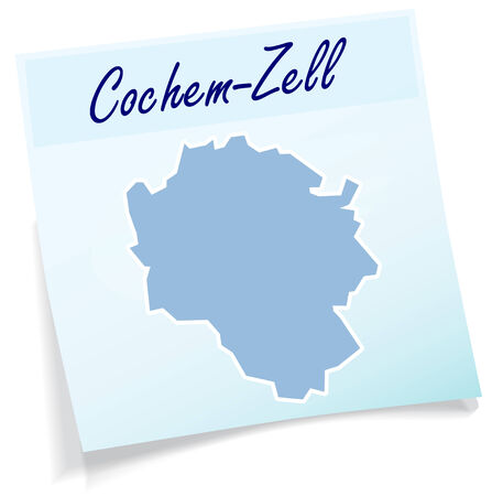 Map of Cochem-Zell as sticky note in blue