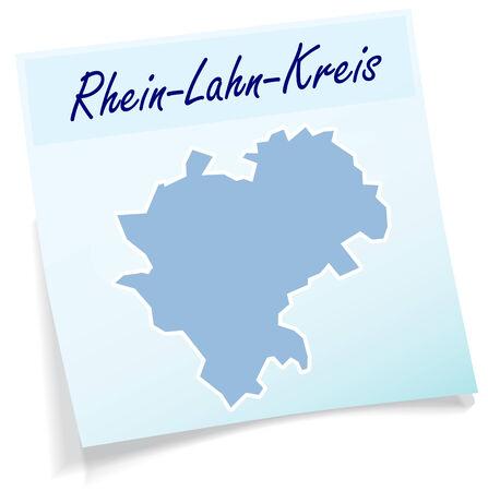 ems: Mapa del Rhein-Lahn como nota adhesiva en azul Vectores