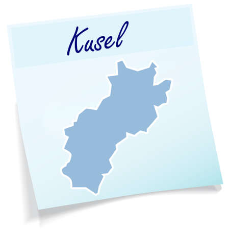 Map of Kusel as sticky note in blue