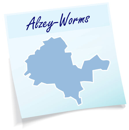Map of Alzey as sticky note in blue