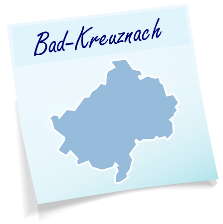 Map of Bad-Kreuznach as sticky note in blue Illustration