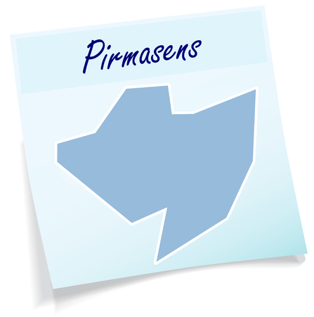 Map of Pirmasens as sticky note in blue Illustration