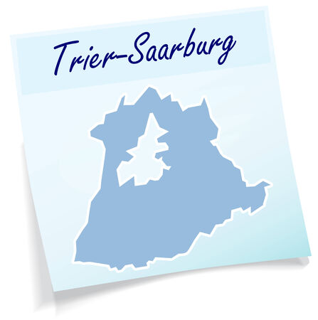 Map of Trier-Saarburg as sticky note in blue Illustration
