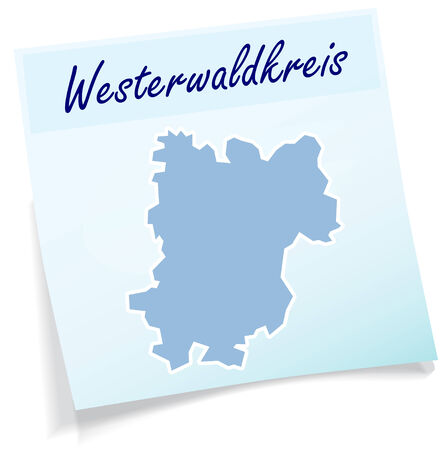 lake district: Map of Westerwaldkreis as sticky note in blue Illustration