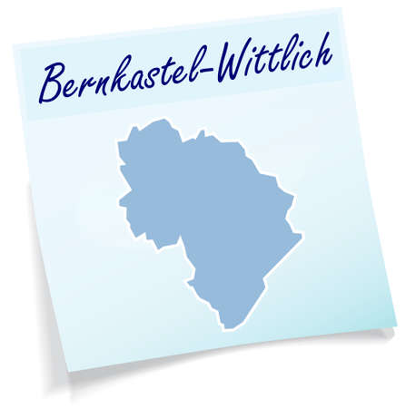 Map of Bernkastel-Wittlich as sticky note in blue