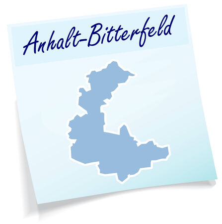 Map of Anhalt-Bitterfeld as sticky note in blue