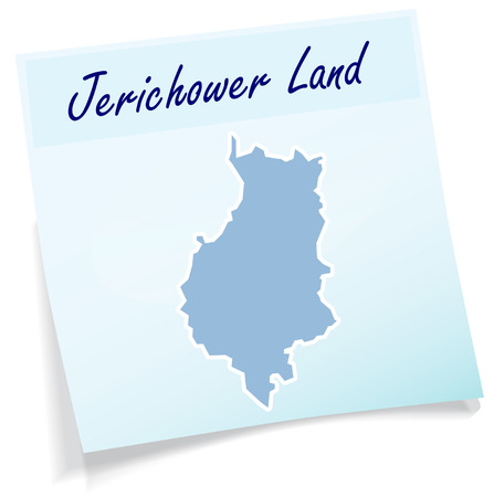 castle district: Map of Jerichower-Land as sticky note in blue