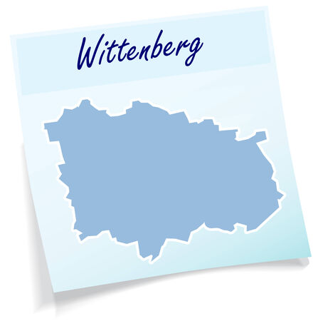 linda: Map of Wittenberg as sticky note in blue Illustration