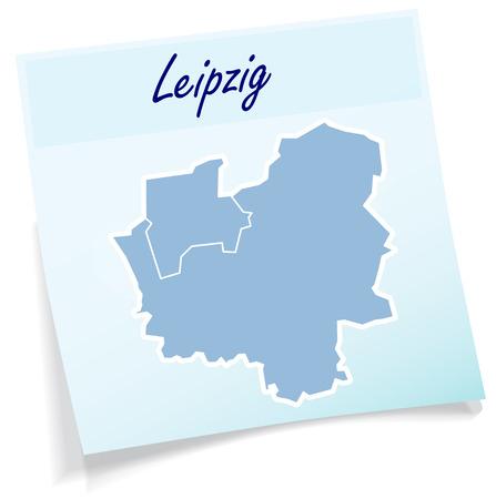 Kaart van Leipzig als notitie in blauw