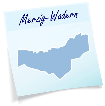 lake district: Map of Merzig-Wadern as sticky note in blue Illustration
