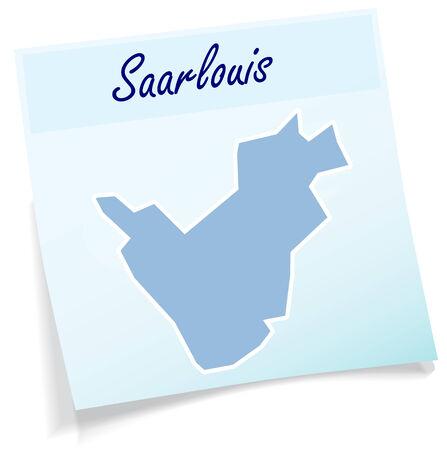 saarlouis: Map of Saarlouis as sticky note in blue
