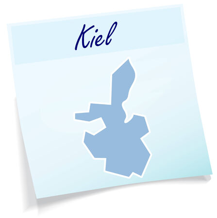 kiel: Map of kiel as sticky note in blue Illustration
