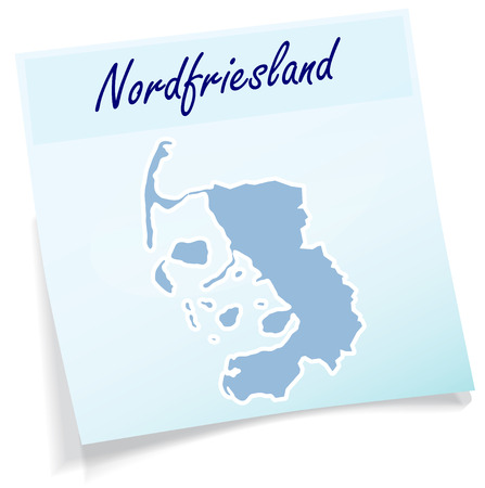 Map of Nordfriesland as sticky note in blue
