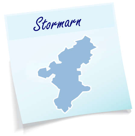 Map of Stormarn as sticky note in blue