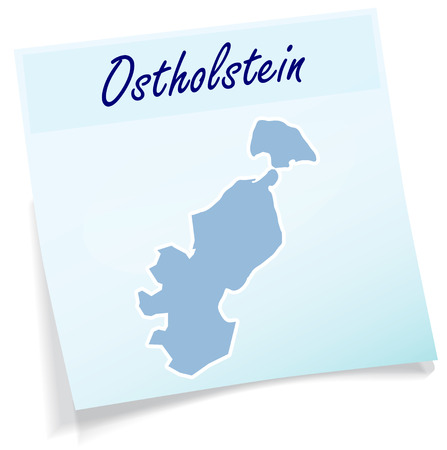 Map of Ostholstein as sticky note in blue