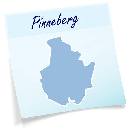 Map of Pinneberg as sticky note in blue Ilustração