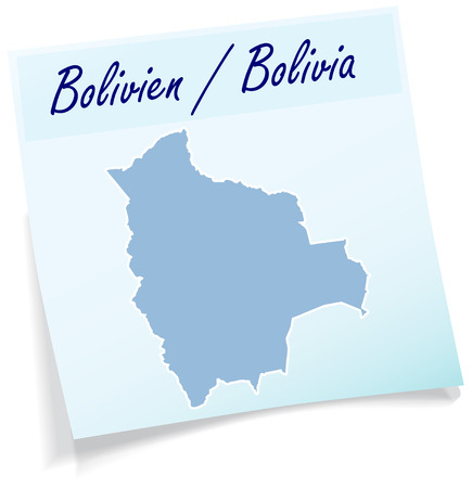 cochabamba: Map of Bolivia as sticky note in blue