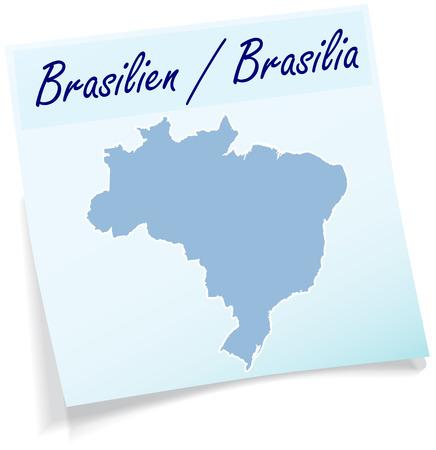 belem: Map of Brazil as sticky note in blue
