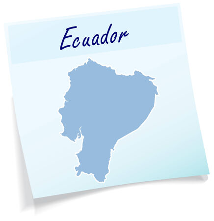 Map of ecuador as sticky note in blue
