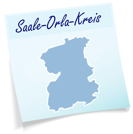 orla: Map of Saale-Orla-Kreis as sticky note in blue Illustration