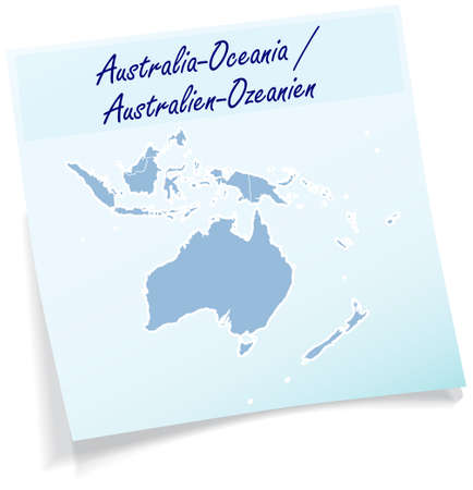 canberra: Map of australia-oceania as sticky note in blue