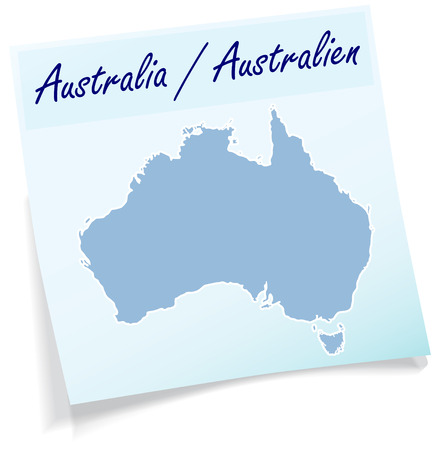 gold coast: Map of Australia as sticky note in blue