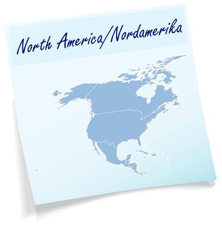 port au prince: Mapa de Am�rica del Norte como nota adhesiva en azul