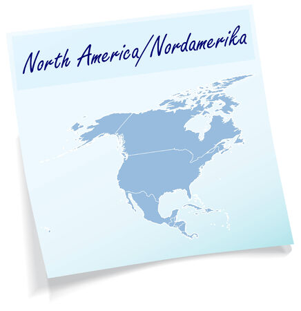Map of North America as sticky note in blue Illustration