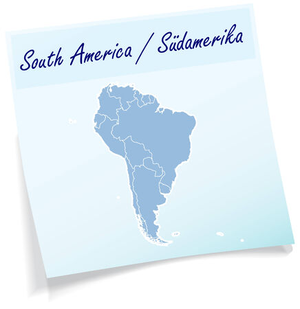 georgetown: Map of South America as sticky note in blue