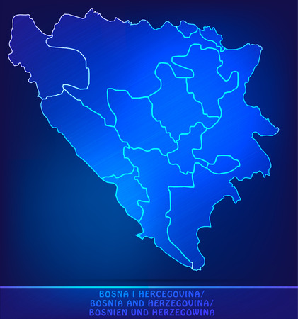 Map of Bosnia and Herzegovina with borders as scrible Stock Photo