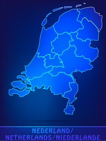 Kaart van Nederland met randen als scrible