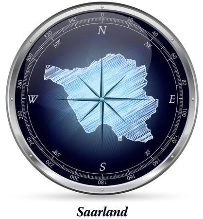 saarlouis: Mapa de Sarre con bordes en cromo Foto de archivo