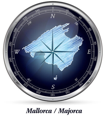 majorca: Map of Mallorca with borders in chrome